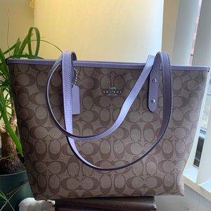 Authentic Coach coated canvas/Smooth leather tote